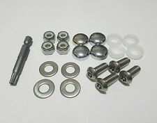 4 Chrome Stainless Steel Motorcycle License Plate Frame Bolts Theft Proof Screws