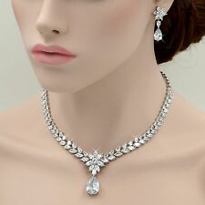 18K White Gold GP Clear Zirconia CZ Necklace Pendant Earrings Jewelry Set 06658
