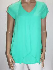 Postie Fashion Brand Green Chiffon Short Sleeve Blouse Top Size 6-XXS BNWT #TC34