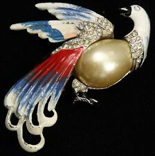 Vintage Art Deco Ornate Pot Metal Painted Enamel Rhinestone Bird Brooch Pin