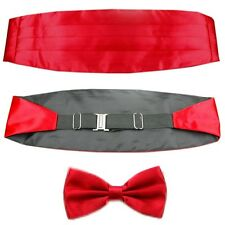 Men's Adjustable Pleated Solid Dark Red Cummerbund Bowtie Pre Tied Set LJYF02