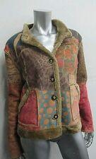 Vintage Boho Jacket Faux Fur Suede Rare Patchwork Leopard Floral Coat Size M/L