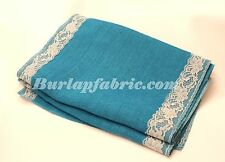 """Colored Burlap Table Runner 14"""" X 120"""" with 2"""" IVORY Lace Borders"""