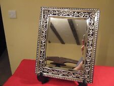 LOVELY 1897 VICTORIAN SOLID SILVER FRAMED DRESSING TABLE MIRROR BY SAMUEL JACOB.