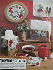 ''STRAWBERRY DELIGHT TISSUE BOX COVER SET'' ~*~PLASTIC  CANVAS PATTERN~*~