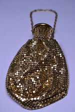 "VINTAGE WHITING & DAVIS EXPANSION TOP GOLD MESH 6 INCH BAG PURSE WITH 7"" CHAIN"