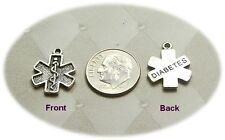 Diabetes Medical Alert Shaped LEAD FREE Pewter Charm