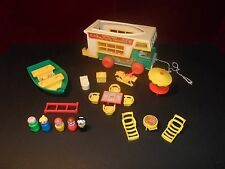 Vintage Fisher Price Little People Family CAMPER w/Boat #994 COMPLETE + EXTRAS