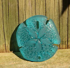 Large Sea Glass Sand Dollar Pendant Bead TEAL 40 x 36 mm.