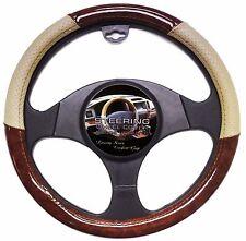 Wood Grain Car Steering Wheel Cover Beige Tan Luxury Vinyl Wood Grip