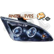 Coppia Fari Fanali Anteriori Tuning Angel Eyes Ford Focus 2 2005- FONDO NERO
