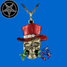 Secret Occult Skull Dead Head Rose Club Member Death Grim Reaper Pendant Pin Red