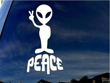White Alien peace sticker for cars and laptops. Made in Australia