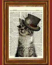 Steampunk Cat Glasses Hat Tabby Dictionary Curious Art Print Poster Picture OOAK