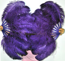 "A pair of Dark purple single layer Burlesque Ostrich Feather Fans 24""x41"""