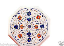 Size 1'x1' Marble Side Coffee Table Top Hakik Gems Mosaic Floral Home Decor