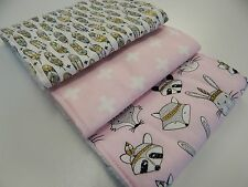 Tribal Badgers Foxes Bunnies Feathers - Pink Burp Cloths x 3 Towelling Backed