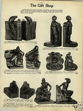 1923 PAPER AD Cast Metal Book Ends Dante Lion's Head Indian On The Trail