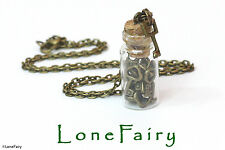 Bronze Plated Miniature Keys in a bottle Necklace Cosplay Lock Key Steampunk