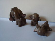 FAMILY OF CERAMIC ELEPHANTS 3 IN TOTAL MARKED - MERITO