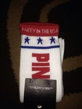 Victorias Secret Pink Stars Party In The USA Knee High Tube Sock Set 4th Of July