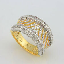 MARVELOUS 0.97 CTW GENUINE DIAMOND 18K YELLOW GOLD OVER STERLING SILVER RING