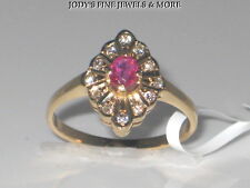 SPECTACULAR ESTATE 14K YELLOW GOLD OVAL RED RUBY & DIAMOND RING Size 7