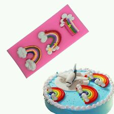 NEW Rainbow Cloud Shape Silicone Mould Cake Decorating Chocolate Fondant Sky UK