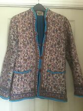 70's Hippy Vintage Indian Cotton Quilted Block Print Jacket Coat size 10 boho S