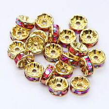 20pcs Plated gold crystal spacer beads Charms Findings 8mm FREE SHIPPING #36