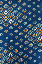 Blue Orange Camellia Diamonds Vintage Japanese Kimono Chirimen Silk Fabric 41""