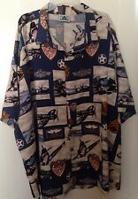 EUC HWY 1 Mens WWII USSTAF Army Air Forces Bomber Planes & Medals Aloha Shirt 4X