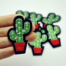 1Pc Cute Cactus Plant Patch For Cloth Iron on Embroidered Sew Applique DIY Hot!!