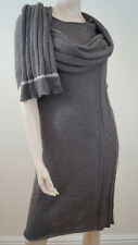 Y'S BY YOHJI YAMAMOTO Brown Knit Rib Detail Round Neck Scarf Detail  Dress
