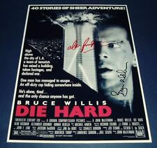 DIE HARD CAST x2 PP SIGNED POSTER 12X8 WILLIS , RICKMAN