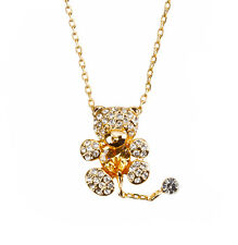 Crystal Teddy Bear Pendant Necklace 18K Rose Gold Plated (H53/1)