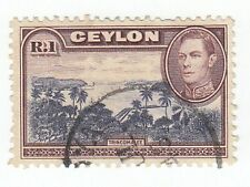 BRITISH CEYLON 1 RUPEE KING GEORGE VI STAMP ♣♣♣RARE♣♣♣