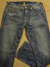TRUE RELIGION RICKY Super T Acid Bleach Flap Jeans 34 / 35 ARTIST LAB $358+ USA