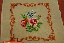 vtg Needlepoint PreWorked Canvas Floral & Border Madincor Medeira 14x14