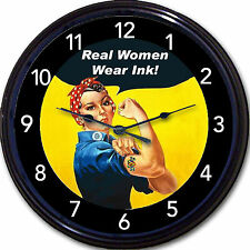 Rosie The Riveter Tattoo Real Women Wear Ink Wall Clock WWII Tat Parlor 10""