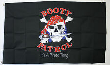BOOTY PATROL flag 3'x5' BLACK banner SKULL SWORD AARGH IT'S A PIRATE THING!