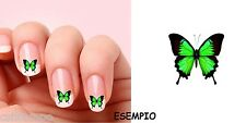 NAIL ART STICKER DECAL 20 FARFALLA BUTTERFLAY VERDE RICOSTRUZIONE GEL ACRILICO