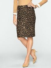NEW $109 TALBOTS Black,Cognac Brushed Animal Jacquard Pencil Skirt Sz 10
