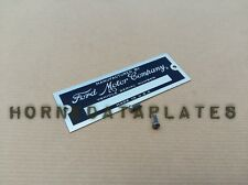 FORD MOTOR COMPANY ID TAG DATA PLATE SERIAL NUMBER CUSTOM HOT ROD RAT ROD
