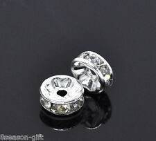 50 SP Clear Rhinestone Rondelle Spacers Beads 8x3mm