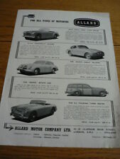 ALLARD RANGE CAR BROCHURE EARLY TO MID 50'S  jm