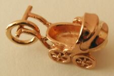 GENUINE SOLID 9ct ROSE GOLD 3D BABY PRAM CHARM/PENDANT