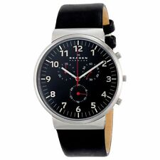 Skagen SKW6100 Gent's Chrono Black Dial Black Leather Strap Watch