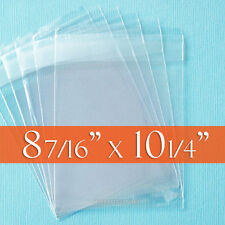 "100 Clear Cello Bags, 8 7/16"" x 10 1/4"" inch (8 x 10 photos etc) - Tape on LIP"
