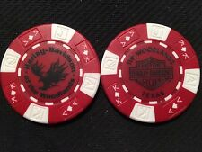 """Harley Davidson Poker Chip (Red & White) """"H-D of the Woodlands"""" , Texas"""